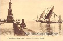 shi020793 - Port Said, Lessep's Statue Monument a Ferdinand de Lessep's Ship Postcard Post Card