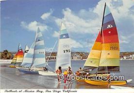 shi020902 - Sailboats at Mission Bay San Diego, California USA Ship Postcard Post Card