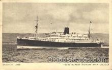 shi024016 - Twin Screw Motor Ship Cilicia Anchor - Donaldson Line, Lines Ship Ships Postcard Postcards
