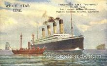 shi042064 - White Star Olympic Ship Postcard Post Card Sister Ship of the Titanic Ship