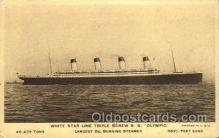 shi042080 - White Star Olympic Ship Postcard Post Card Sister Ship of the Titanic Ship