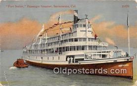 shi045051 - Fort Sutter, Passenger Steamer Sacramento, California USA Ship Postcard Post Card