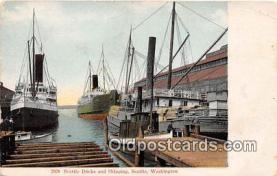 shi045057 - Seattle Docks & Shipping Seattle, Washington USA Ship Postcard Post Card