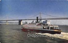 shi045137 - Ferry Boat & Bay Bridge San Francisco, CA USA Ship Postcard Post Card
