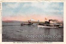 shi045193 - Pleasure Boats Lake Washington, Mt Rainier Ship Postcard Post Card