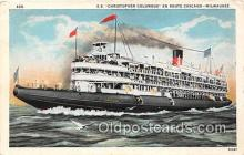 shi045361 - SS Christopher Columbus Milwaukee, WI USA Ship Postcard Post Card