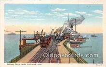 shi045395 - Railway Ferry Docks Mackinaw, Michigan Ship Postcard Post Card