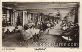 shi050081 - R.M.S. Aquitania, Garden lounge Ship Ships, Interiors, Postcard Postcards