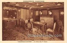 shi050185 - Theophile Gautier, Le Salon des 2 Classes Messageries Maritimes Ship Postcard Post Card