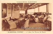 shi050244 - Marechal Joffre, 1 Classe, La Terrasse Du Fumoir Messageries Maritimes Ship Postcard Post Card