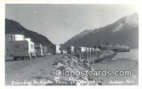 shi052193 - Real Photo - Boarding The Alaska Ferry, Skagawary, Alaska, AK USA Ferry Ship Postcard Post Card