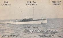 shi053132 - Yacht Diane W Palm Beach, Florida Ship Postcard Post Card