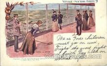 shi054003 - Games on Board,Voyage,New York,USA American SouvenirCard Co. Ship Ships Postcard Postcards