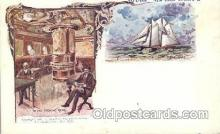 shi054004 - In the smoking room and Pilot Boat,New York,USA American SouvenirCard Co. Ship Ships Postcard Postcards
