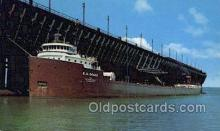 shi055012 - Giant Freighter Loading Michigan Freighters, Ship Postcard Postcards