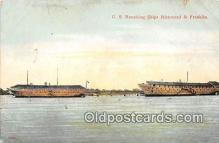 shi055039 - US Receiving Ships Richmond & Franklin Ship Postcard Post Card