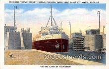shi055041 - Freighter Down Bound Sabin Lock, Sault Ste Marie, Michigan Ship Postcard Post Card