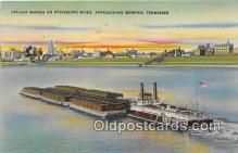 shi055050 - Freight Barges, Mississippi River Memphis, Tennessee USA Ship Postcard Post Card