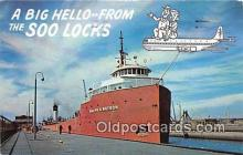 shi055061 - Giant Ore Boat Sault Ste Marie, Michigan USA Ship Postcard Post Card