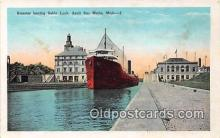 shi056055 - Steamer, Sabin Lock Sault Ste Marie, Michigan Ship Postcard Post Card