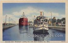 shi056057 - Excursion Boat Messenger Giant Freighter, Soo, Michigan Ship Postcard Post Card