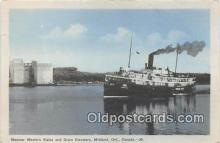 shi056060 - Steamer Western States, Grain Elevators Midland, Ont, Canada Ship Postcard Post Card