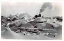 shi056063 - Real Photo Ice Blockade of the Straits Mackinaw City, Michigan Ship Postcard Post Card