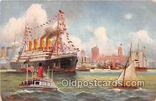 shi056115 - New York Harbor  Ship Postcard Post Card