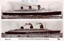 shi056119 - Queen Mary, Normandie Les Deux Plus Grans Paquebots du Monde Ship Postcard Post Card