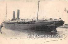 shi056137 - Le Havre Sortie ddu Transatlantique La Bretagne Ship Postcard Post Card