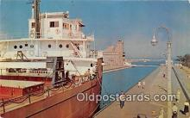 shi056227 - Ore Boat, Soo Locks Sault Ste Marie, Michigan Ship Postcard Post Card