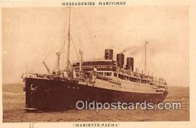 shi056241 - Mariette Pacha Messageries Maritimes Ship Postcard Post Card
