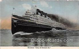 shi056273 - Steamer City of Detroit III  Ship Postcard Post Card