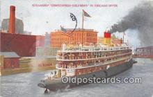 shi056286 - Steamship Christopher Columbus Chicago River Ship Postcard Post Card
