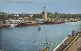 shi058040 - Sevilla EL Puerto y torre del oro Steamer, Steamers, Ship, Ships Postcard Postcards