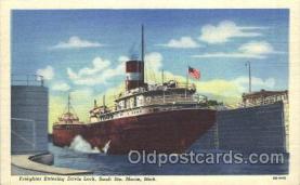 shi058105 - Davis lock Sault Ste. Marie, Mich Steamer, Steamers, Ship, Ships Postcard Postcards