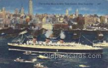 shi058340 - The Queen Mary in New York Harbor, USA Ship Postcard Postcards
