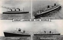shi062013 - Cunard Liner RMS Queen Mary SS France Ship Postcard Post Card