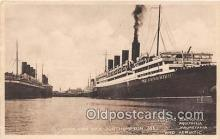 shi062031 - Berengaria, Aquitania White Star Dock Southampton Ship Postcard Post Card