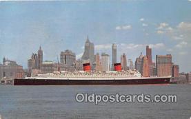 shi062186 - SS Queen Elizabeth Manhattan, New York City USA Ship Postcard Post Card