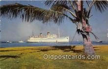 shi062218 - Greeting a Liner Honolulu Hawaii USA Ship Postcard Post Card