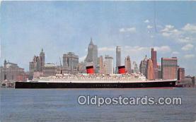 shi062230 - SS Queen Elizabeth Manhattan, New York City USA Ship Postcard Post Card
