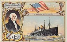 shi062359 - Reproduction - George Washington, 1732, 1799 D George Washington Ship Postcard Post Card