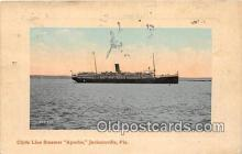shi062373 - Clyde Line Steamer Apache Jacksonville, Florida Ship Postcard Post Card