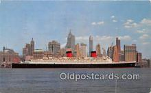 shi062404 - SS Queen Elizabeth Manhattan, New York City Ship Postcard Post Card