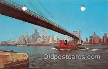 shi065002 - Brooklyn Bridge New York City Ship Postcard Post Card