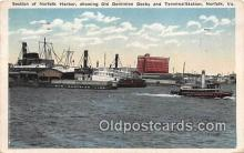 shi065004 - Norfolk Harbor Norfolk, VA Ship Postcard Post Card