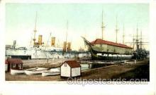 shi075046 - Warships and old ironsides, Boston, Massachusett, USA Ferry Boat, Boats Postcard Postcards