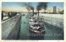 shi075144 - First Boats In Government lock Keokuk, Iowa USA Ferry Boats, Ship, Ships, Postcard Post Cards