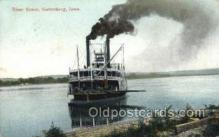 shi075172 - River Scene Guttenberg Iowa Ferry Boats, Ship, Ships, Postcard Post Cards